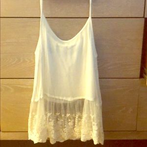 Soprano white tank top with lace bottom